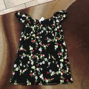 Black floral off the shoulder dress never worn
